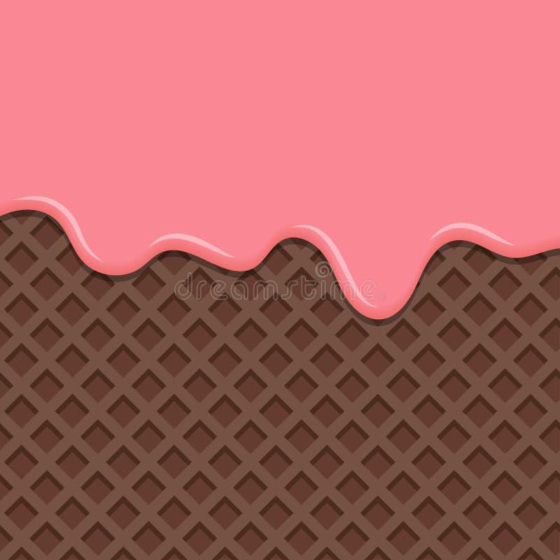 Dessert met roze die room, op wafeltjeachtergrond wordt gesmolten royalty-vrije illustratie