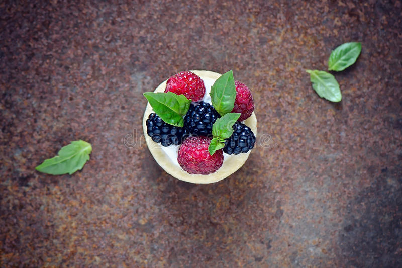 Dessert met verse bessen royalty-vrije stock foto's