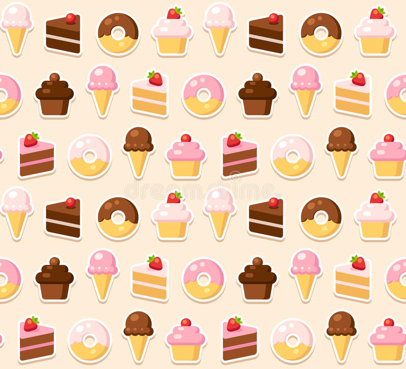 Dessert naadloos patroon royalty-vrije illustratie