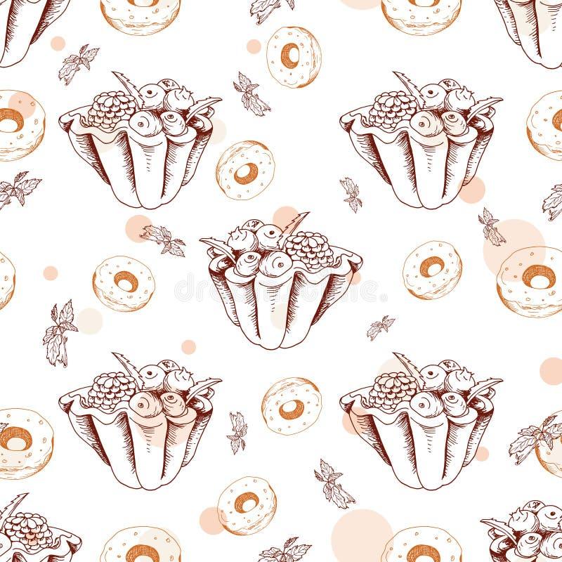 Dessert naadloos patroon Zoete achtergrond ter beschikking getrokken stijl Behang met scherp, doughnut Vectorillustratie voor kof vector illustratie