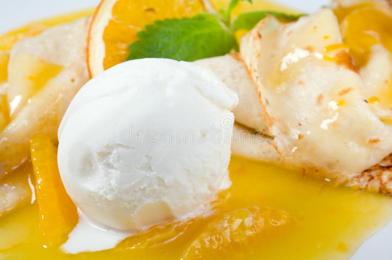 Download Dessert - Pancakes With Ice Cream And Fruit Sauce Stock Image - Image: 15630571