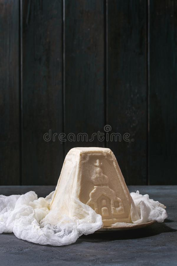 Dessert Paskha de fromage blanc photo stock