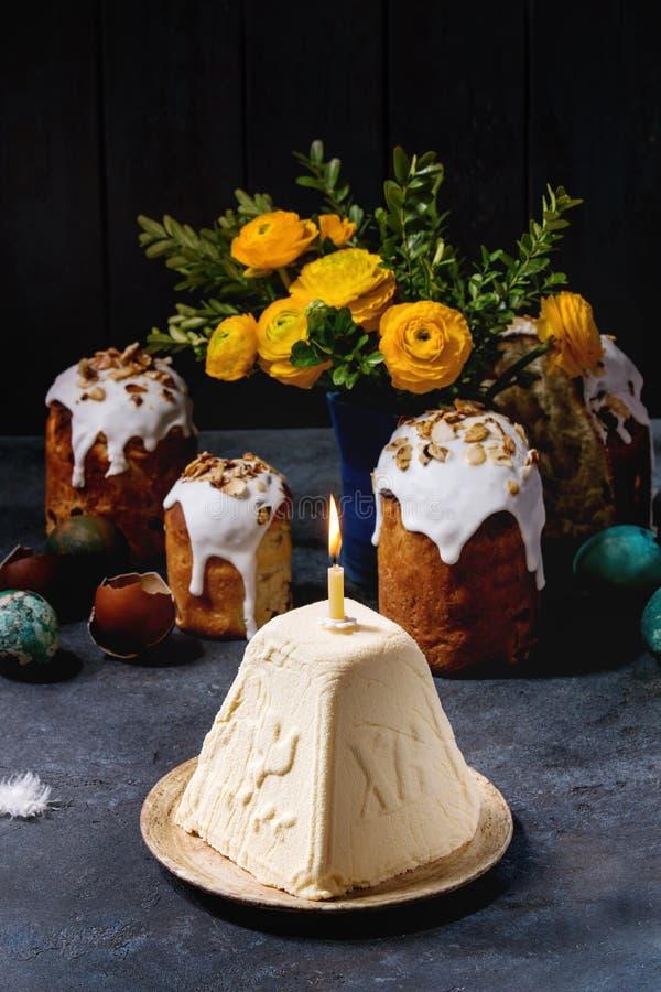 Dessert Paskha de fromage blanc photographie stock libre de droits