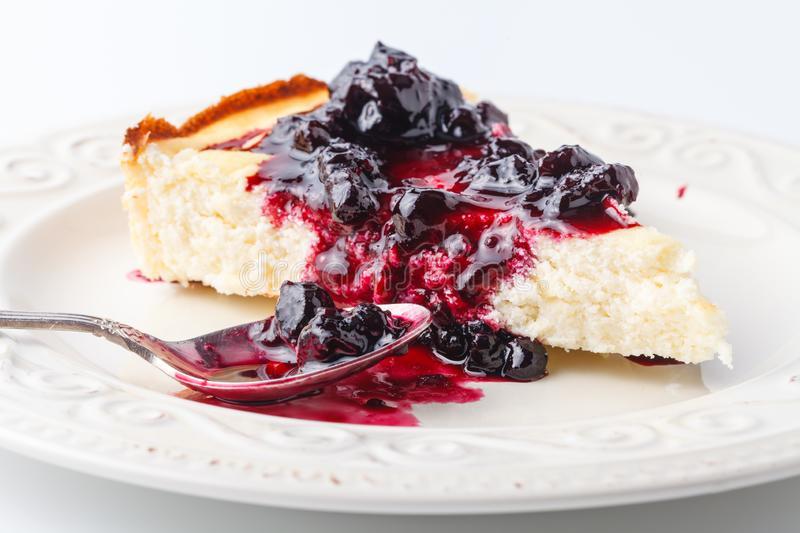 Dessert - Pear Cake with Berries close up view royalty free stock photo