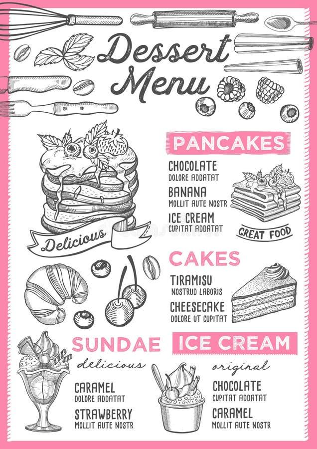 Dessert menu restaurant, food template. Dessert restaurant menu. Vector food flyer for bar and cafe. Design template with vintage hand-drawn illustrations vector illustration