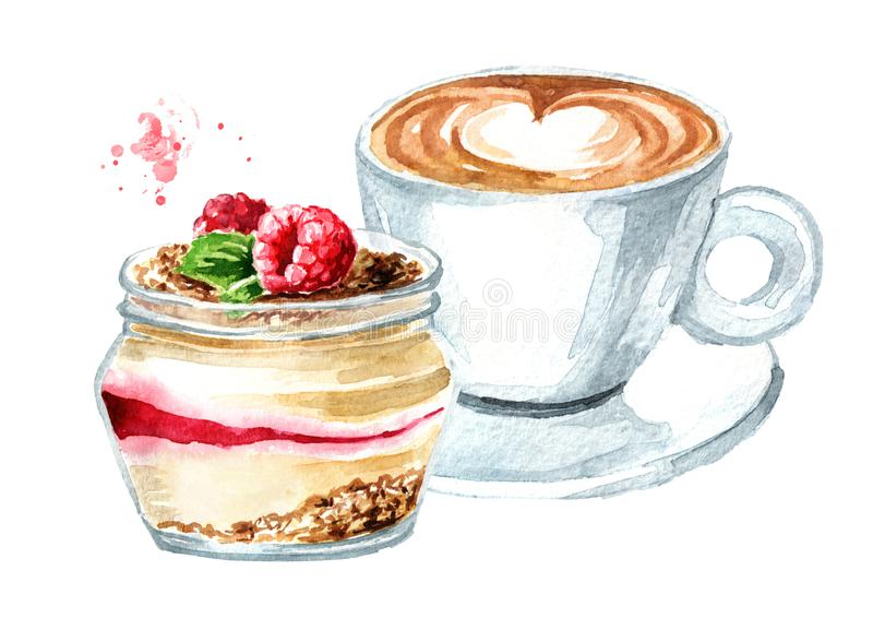 Dessert sain de framboise dans le pot et la tasse de caf? Illustration tir?e par la main d'aquarelle, d'isolement sur le fond bla illustration stock