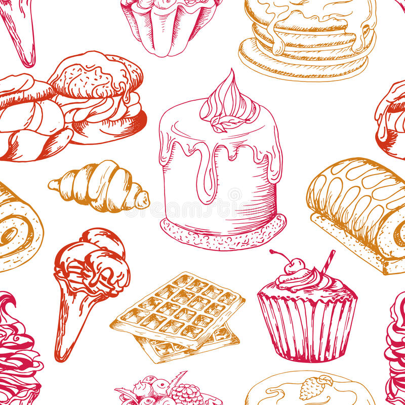 Dessert seamless pattern. Sweet background in hand drawn style. Wallpaper with cupcake, waffles, pretzel. Vector illustration royalty free illustration