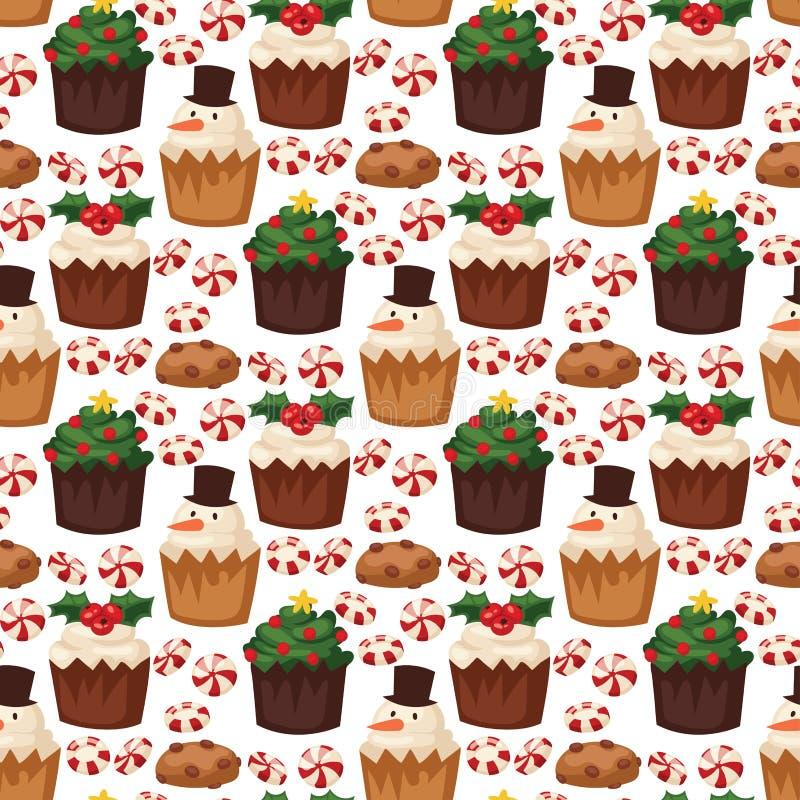 Dessert senza cuciture del fondo del modello dell'alimento tradizionale di natale del biscotto illustrazione di stock