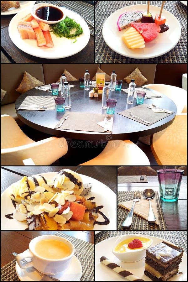 Dessert set in restaurants stock photo