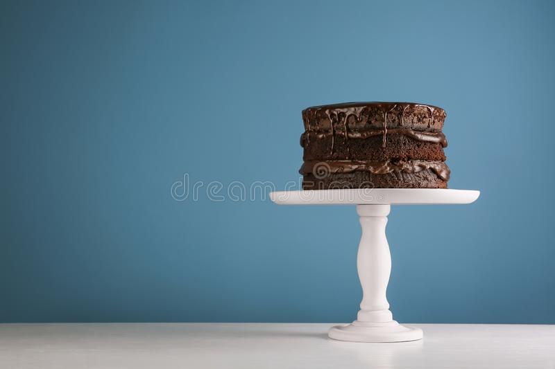 delicious melted chocolate cake stock image