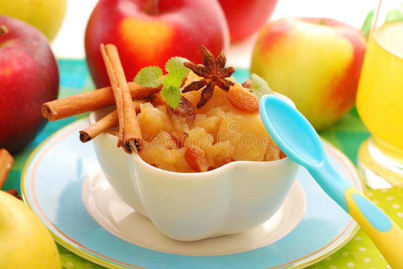 Dessert With Stewed Apples For Baby Royalty Free Stock Images