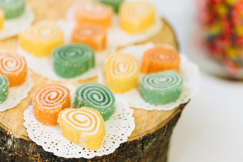 Dessert Sweet Tasty Yummy Colorful Jellies in Candy Bar On Table royalty free stock photos