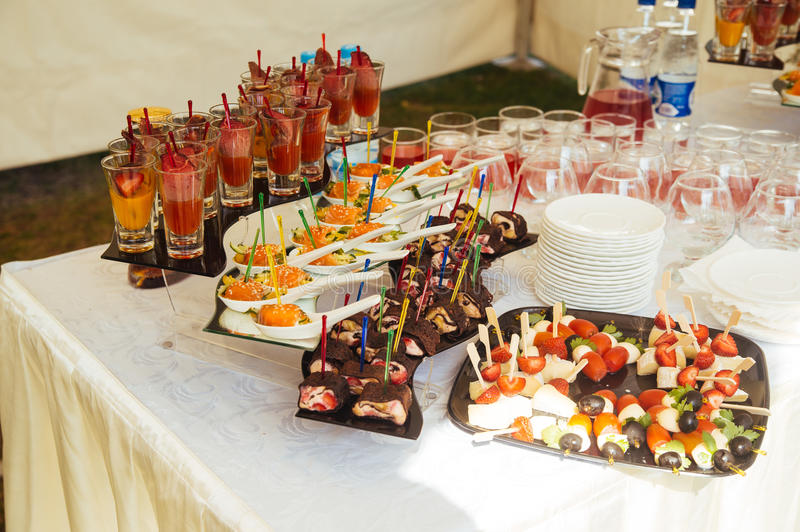 Dessert table and candy bar stock images