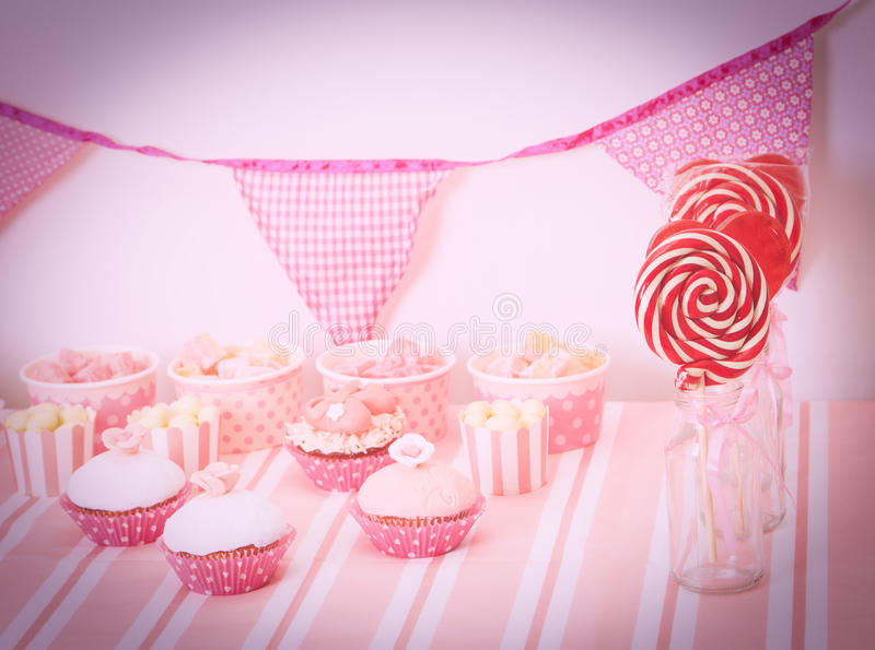 Dessert Table At Girls Birthday Party Stock Image Image of