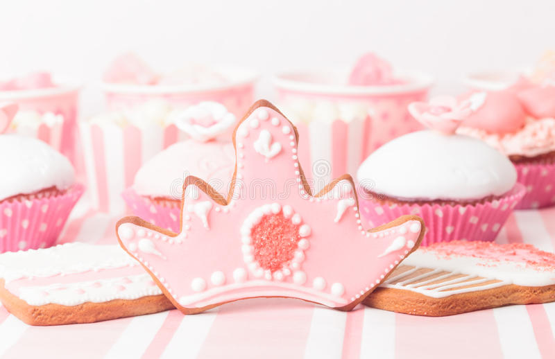 Dessert table at girls party. Dessert table in pink at girls party stock photography