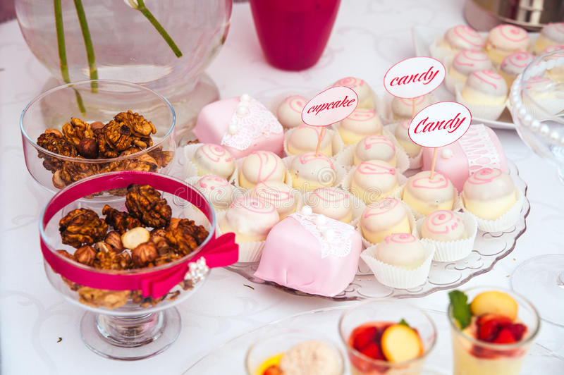 Dessert table for a party stock image