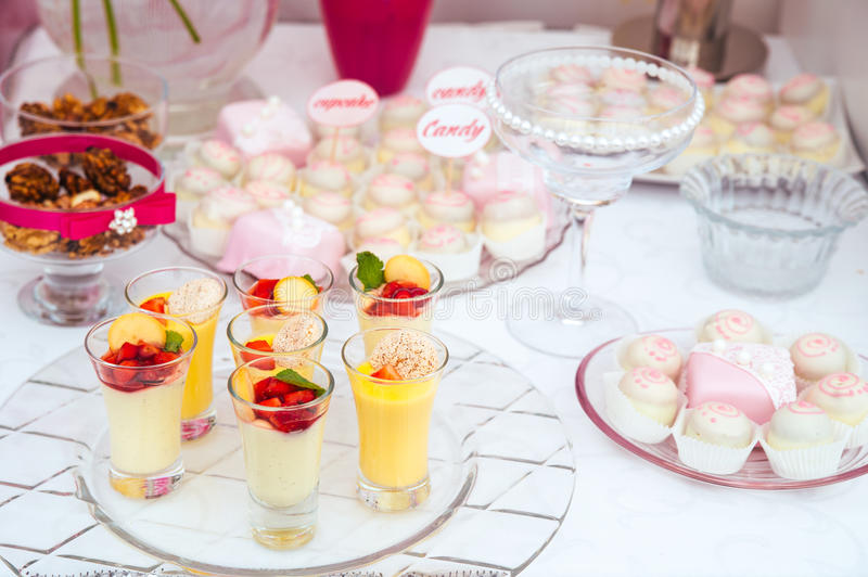Dessert table for a party stock images