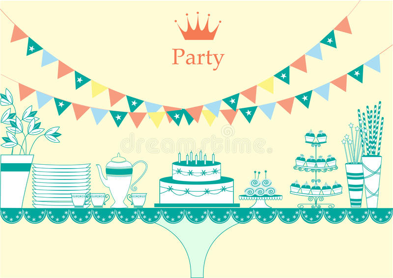 Dessert table for a party, illustrations vector illustration
