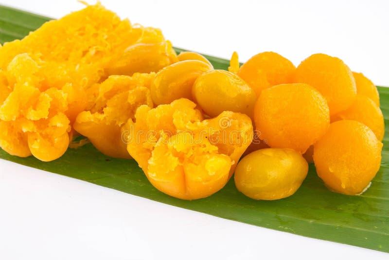 Dessert tailandese, dolci tailandesi, fatti del fagiolo, del latte di cocco e dell'uovo fotografie stock libere da diritti