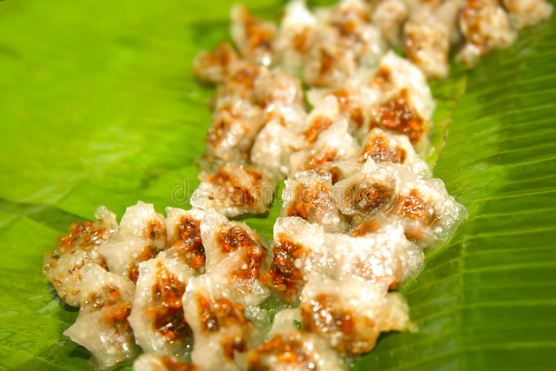 Dessert thaïlandais, paume de sagou pulvérulente d'amidon image libre de droits