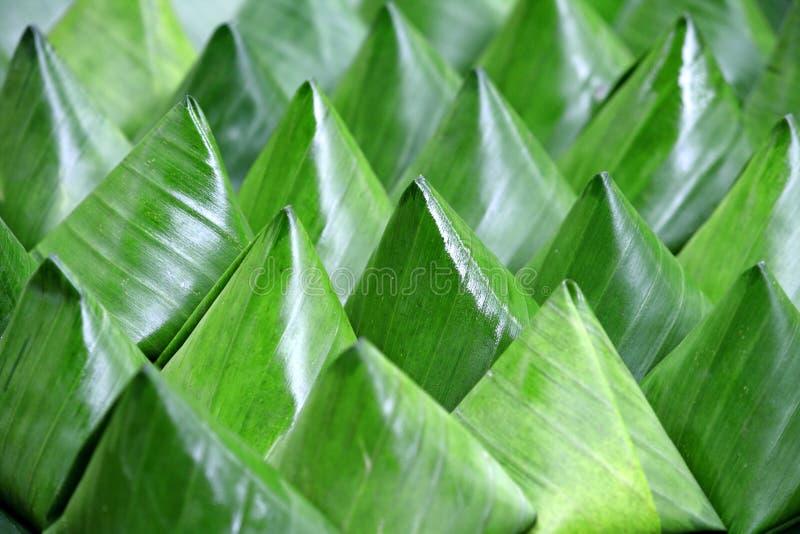 Dessert Thai style. Dessert Banana green leaf wrap royalty free stock photo