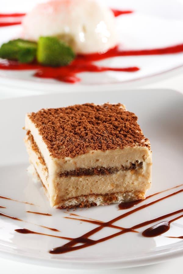 Dessert - torta di formaggio di Tiramisu fotografia stock