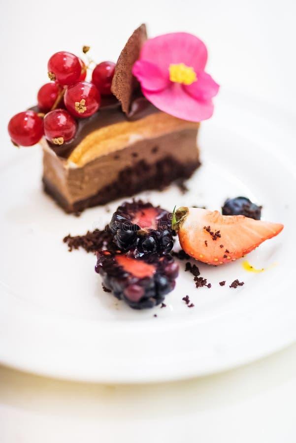 Dessert triplo del cioccolato fotografia stock