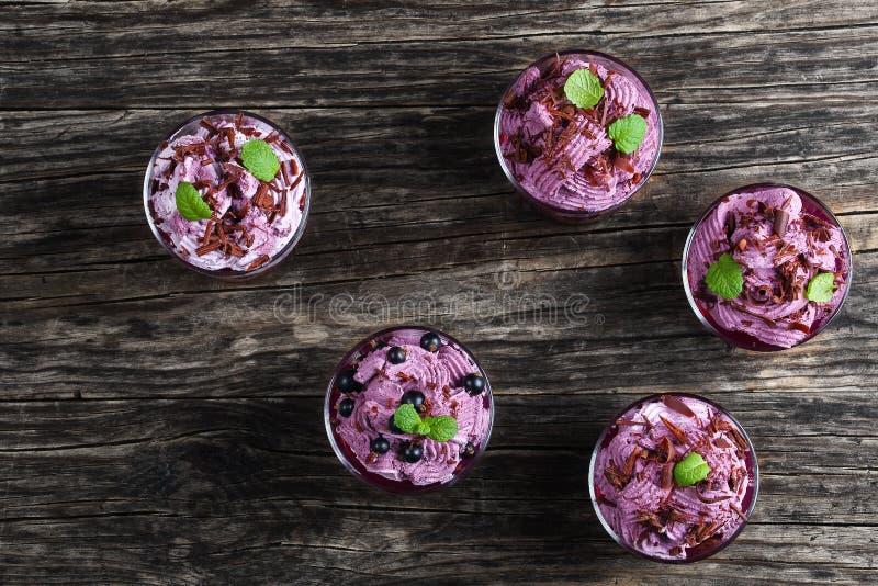 Dessert van blackcurrant en Bevroren mousse stock afbeelding