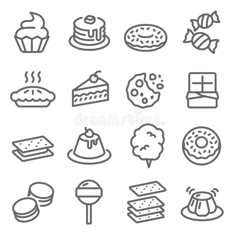 Dessert Vector Line Icon Set. Contains such Icons as Cupcake, Donut, Macaron, Pudding and more. Expanded Stroke. Dessert Vector Line Icon Set. Contains such royalty free illustration