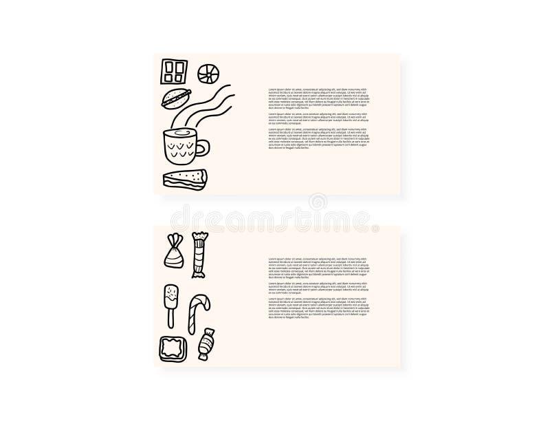Dessert vector set elements in doodle style. royalty free illustration