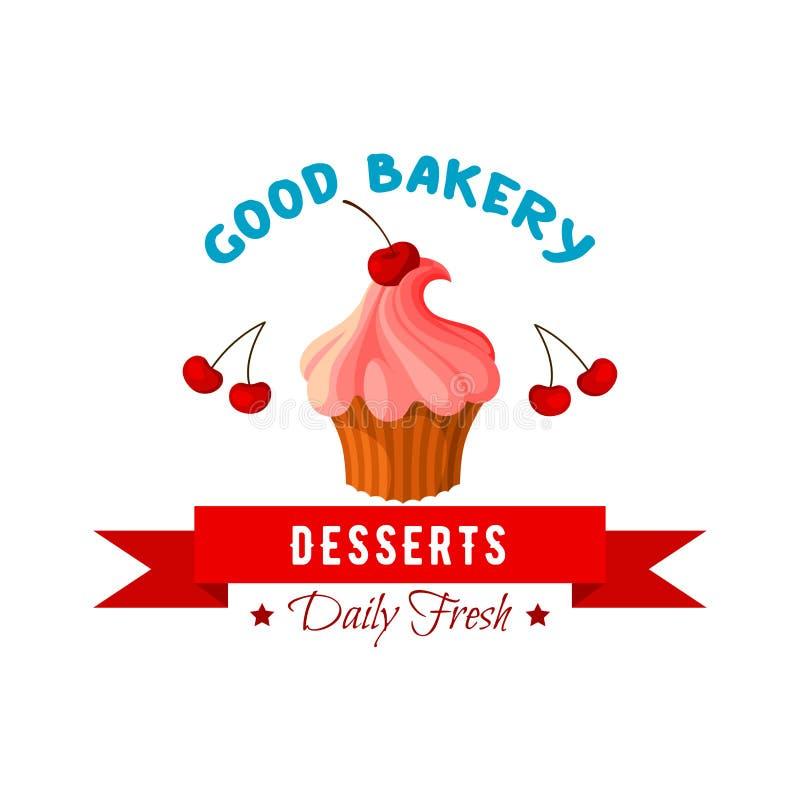 Dessert vectorpictogram of embleem van cake of scherp royalty-vrije illustratie