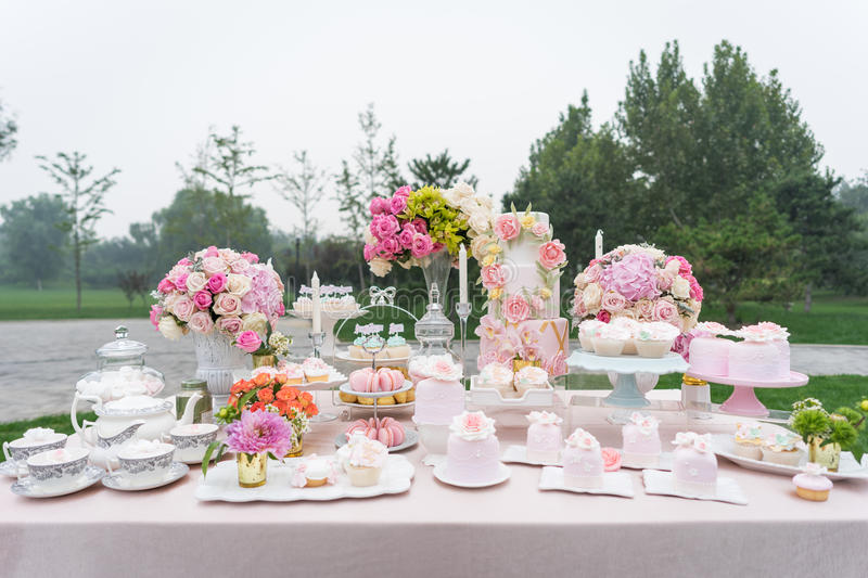 Dessert at the wedding. Dessert area at the wedding party stock photos