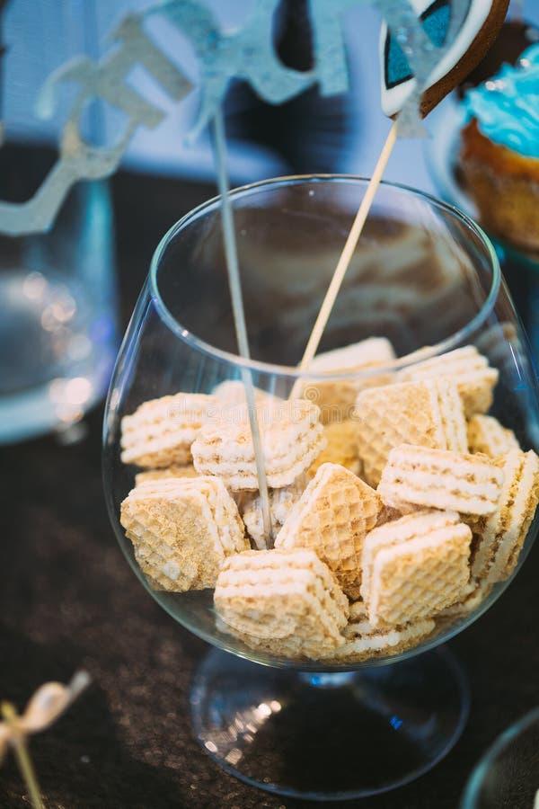 Dessert Zoete Wafeltjes in Suikergoedbar Heerlijk zoet buffet stock foto's