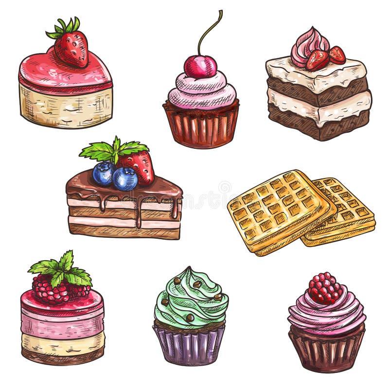 Dessertcakes, cupcakes geïsoleerde vectorschets vector illustratie