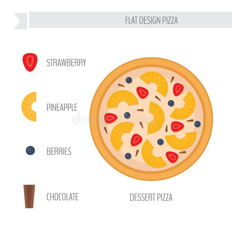 Dessertpizza met ingrediënten Vlakke stijl vectorillustratie royalty-vrije illustratie
