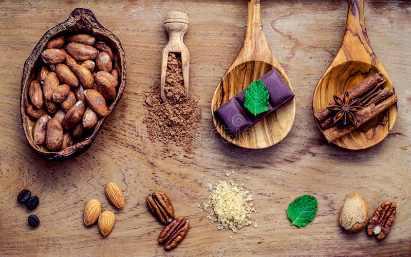 Desserts background. Chocolate powder in scoop. Roasted cocoa be. Ans in cocoa pod ,sugar ,coffee ,almonds ,pecan ,cinnamon,mint and dark chocolate bar setup on stock photos