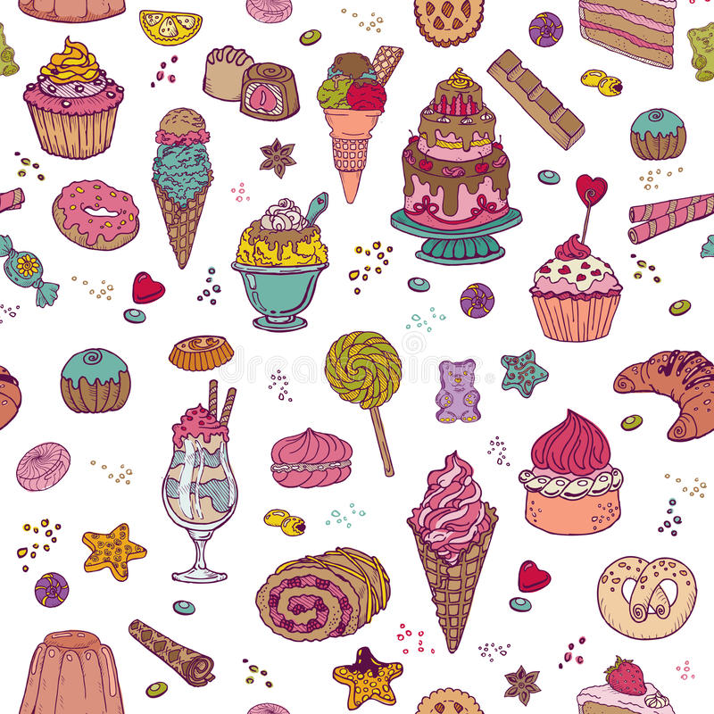 Desserts Background - Seamless Pattern. With Cakes, Sweets and Desserts - in vector stock illustration