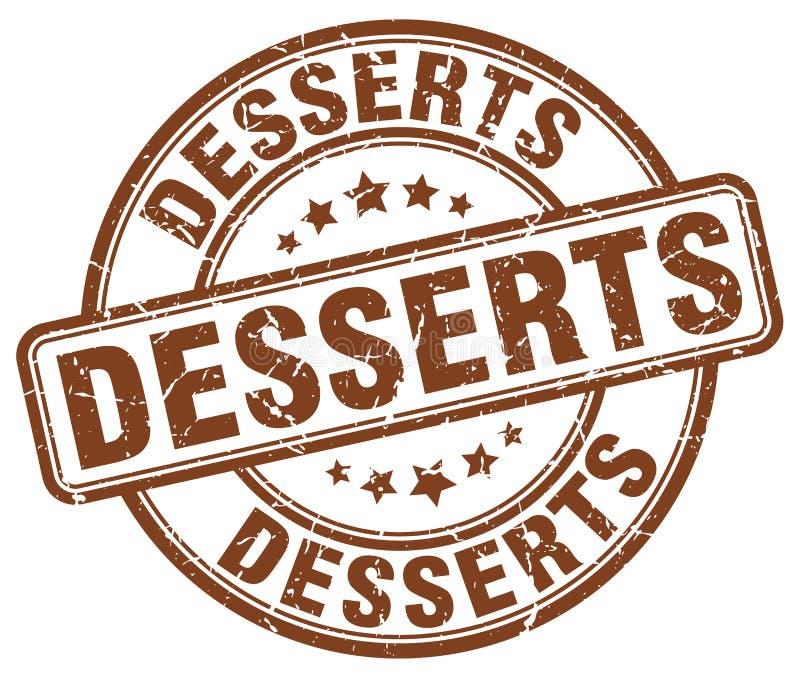 Desserts brown grunge round vintage stamp. Desserts brown grunge round vintage rubber stamp vector illustration