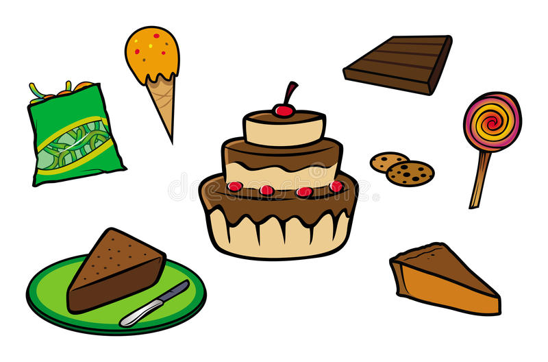 Desserts collection. Cartoon illustration of a desserts collection royalty free illustration