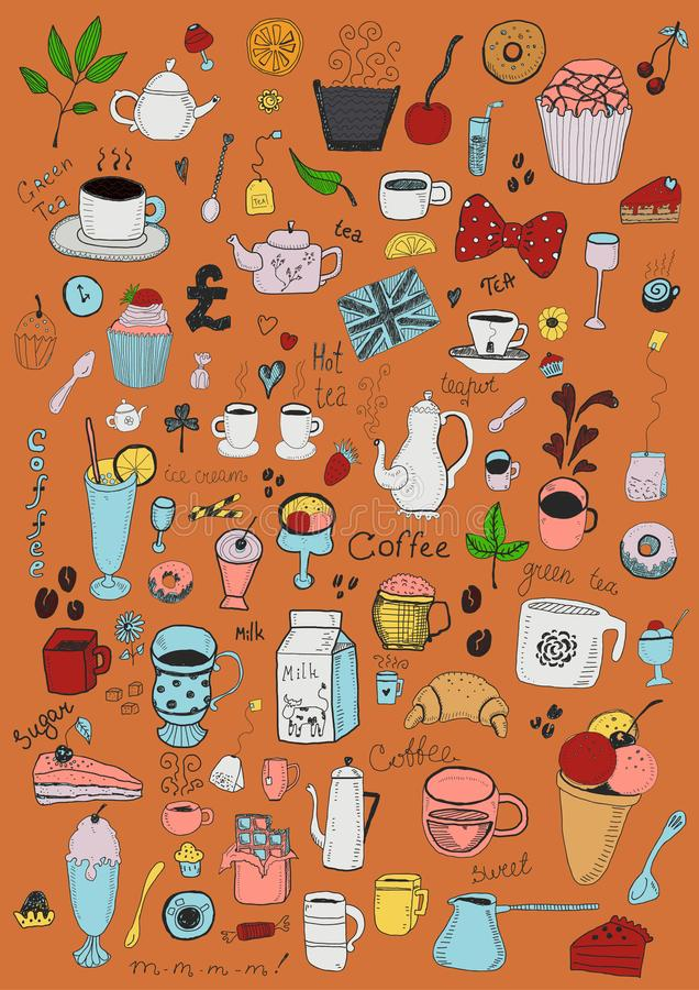 Desserts collection. Vector hand drawn set of desserts objects vector illustration