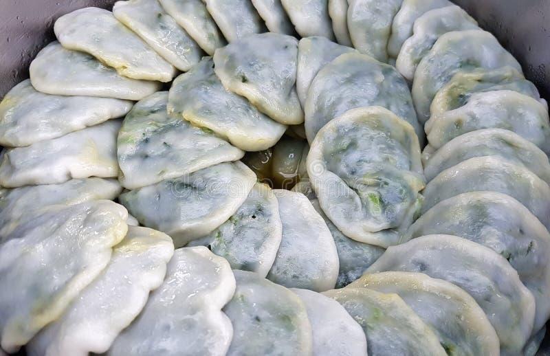Desserts cuits à la vapeur par poireau chinois photographie stock libre de droits