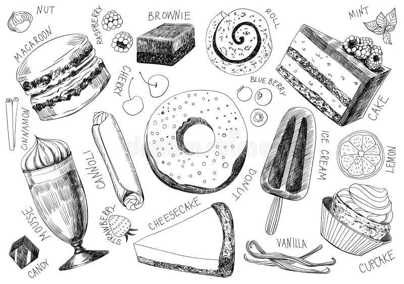 Desserts délicieux tirés par la main illustration libre de droits