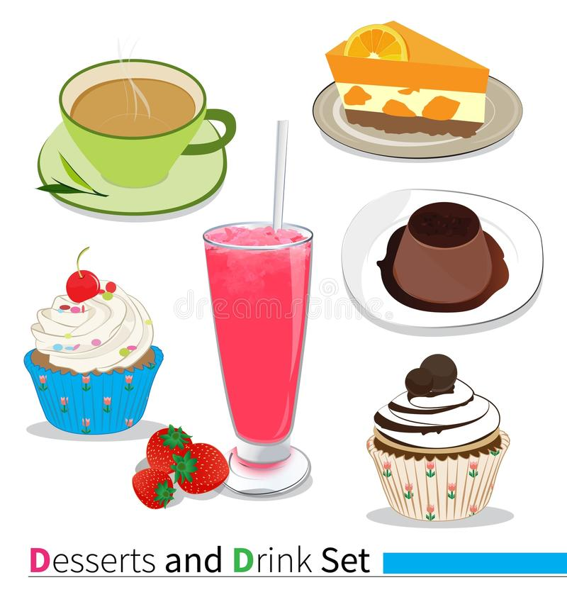 Desserts and drink. On white background vector illustration