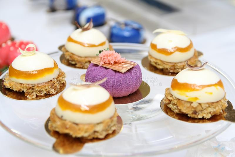 Desserts en cakes royalty-vrije stock afbeelding