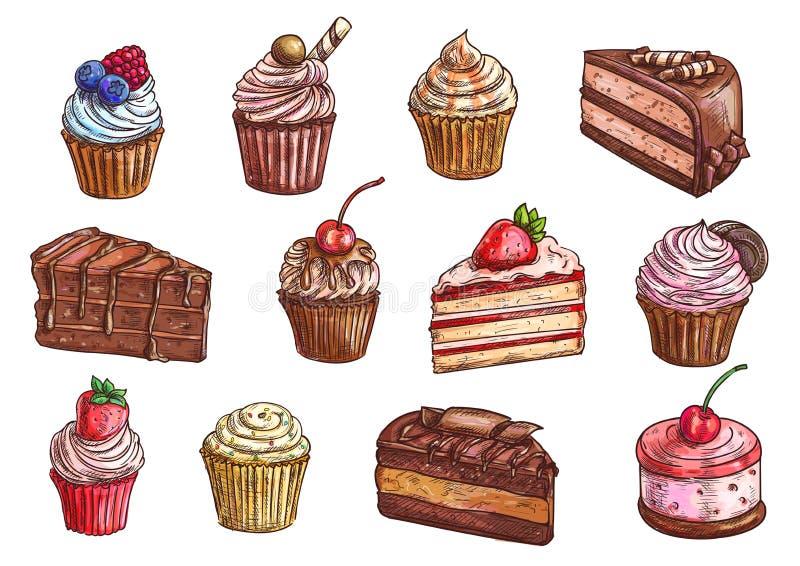 Desserts en de zoete vectorpictogrammen van de cakesschets stock illustratie