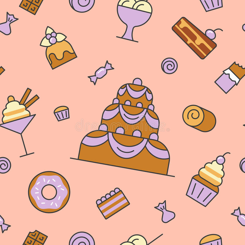 Desserts en Snoepjesvoedsellijn Art Thin Seamless Pattern Background met Cake en Cupcake stock illustratie