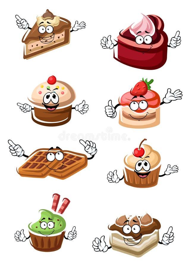Desserts, gâteaux, petits gâteaux et gaufres fruités illustration stock