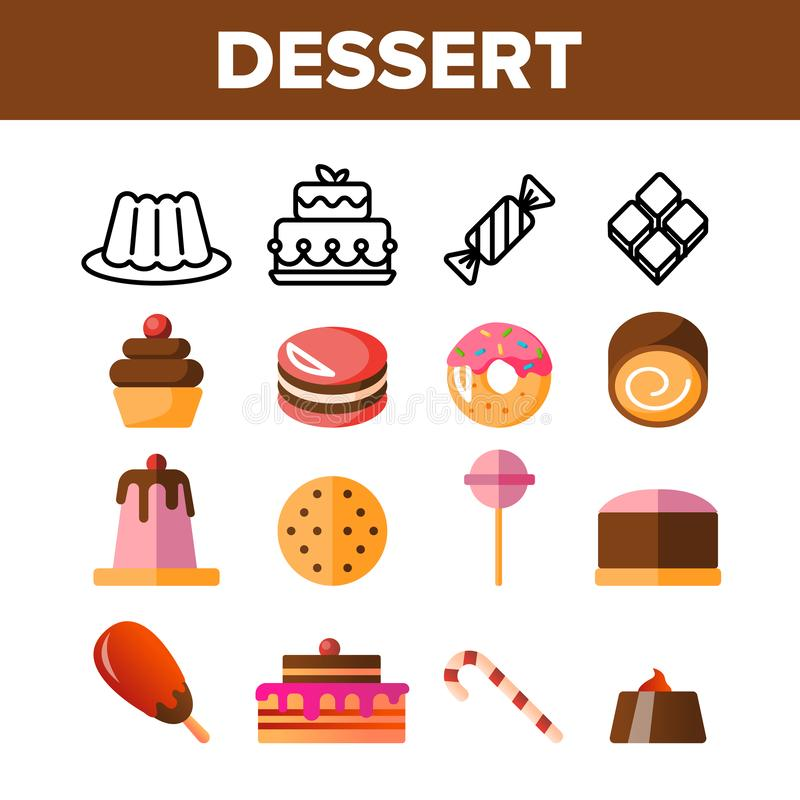 Desserts, Gebakje, Geplaatste Pictogrammen van de Snoepjes de Vectorkleur stock illustratie