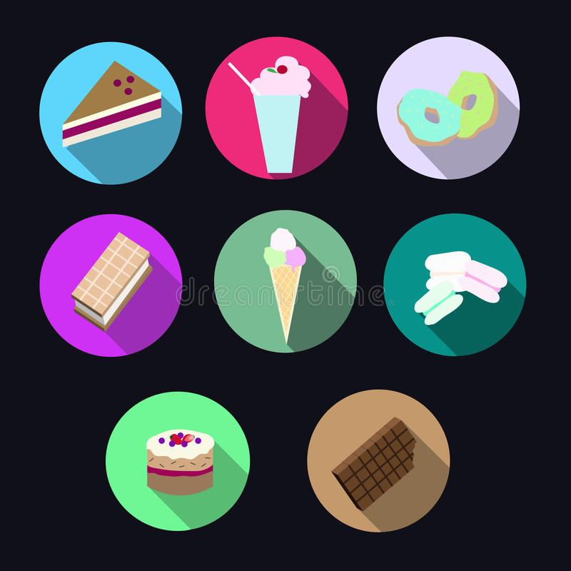 Desserts icons. Color web icons royalty free illustration