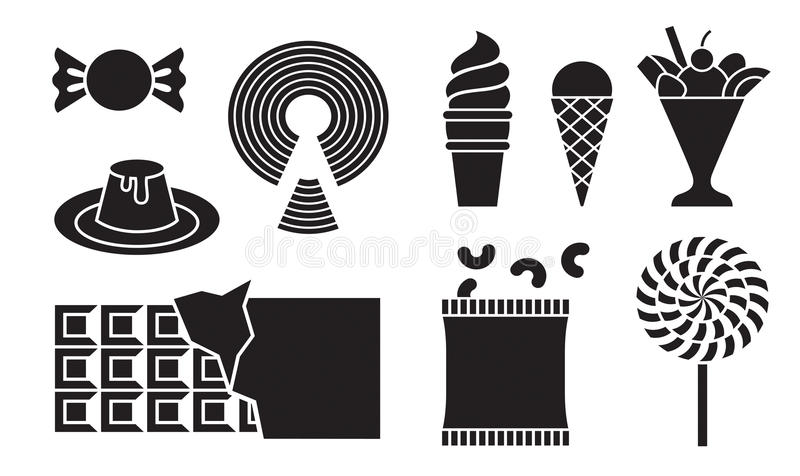 Desserts icons. New silhouette desserts icons illustration royalty free illustration